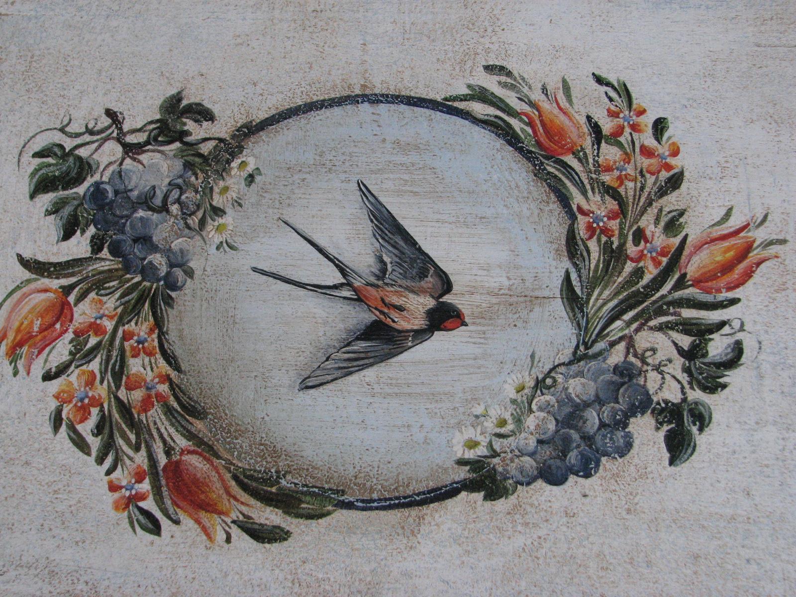Malovaná selská truhla bílá s motivem léta a úrody 3 detail