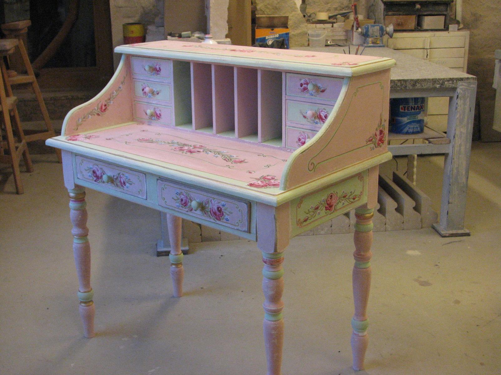 Romantický psací stůl růžový s motivy růže a pomněnek 7