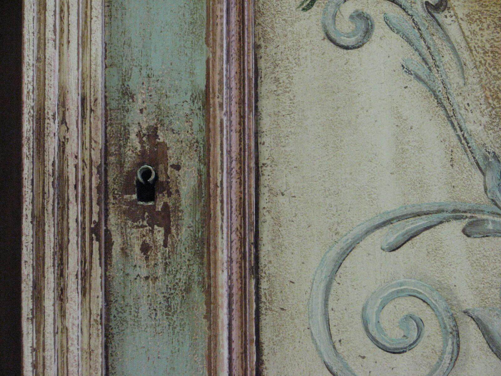 Malovaný věšák - Něha rozkvetlých zahrad detail 2