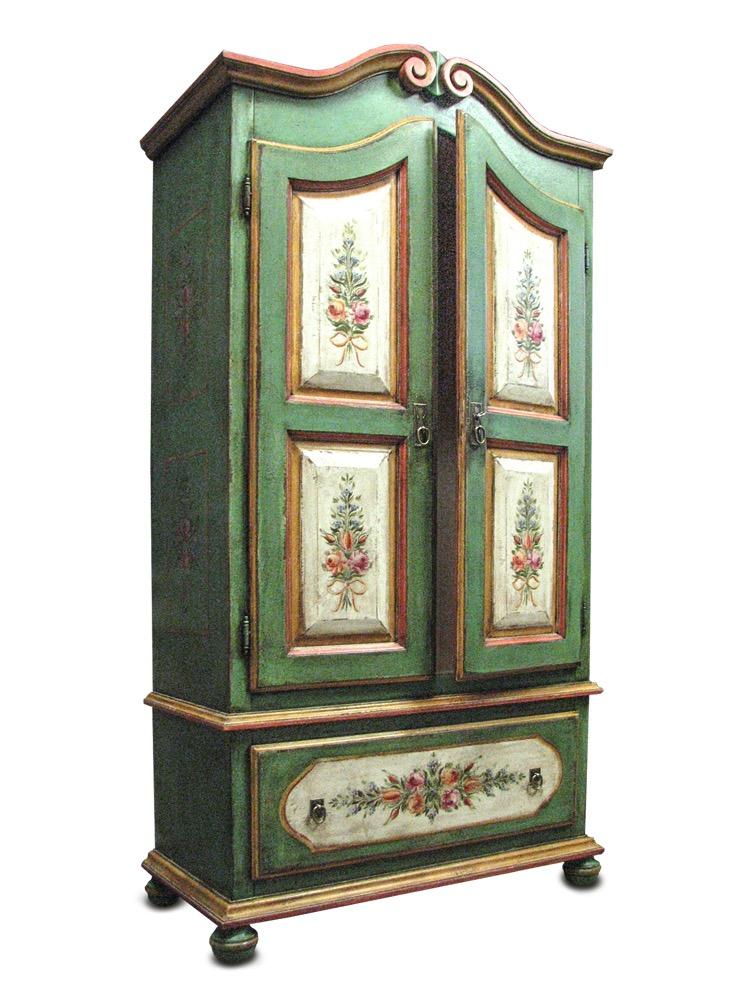 selská dřevěná dvoudveřová malovaná skříň se šuplíkem zelené barvy patinovaná ruční malba