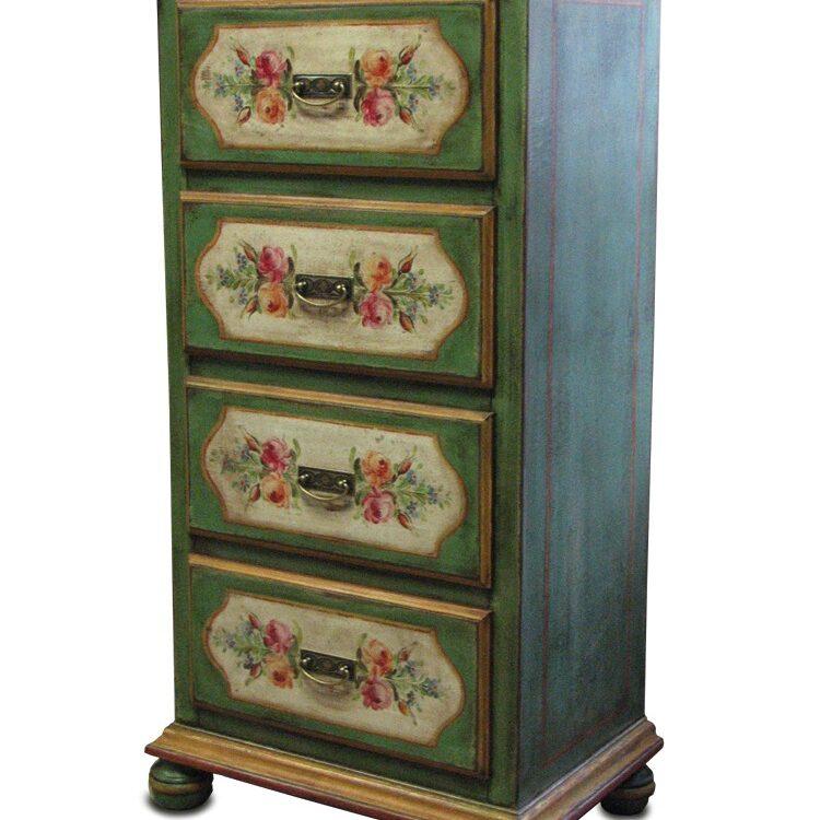 selská dřevěná malovaná komoda v zeleném provedení s motivy růží.