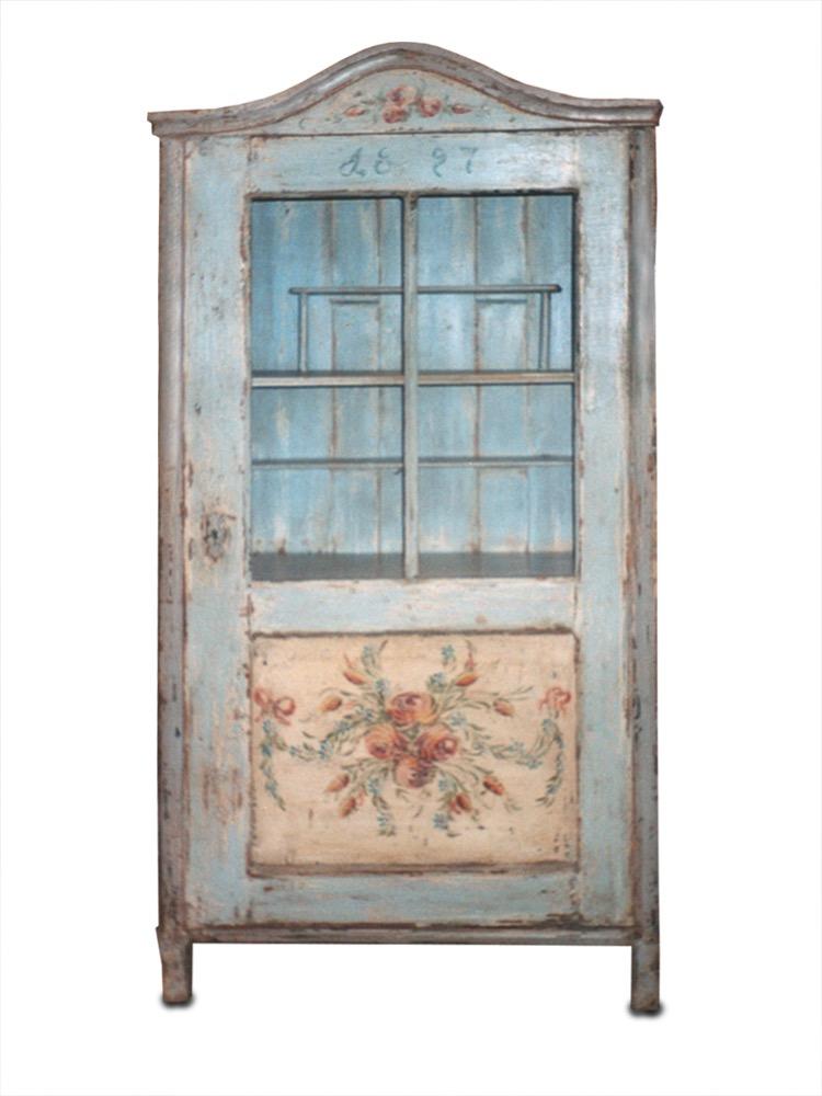 selský dřevěný malovaný skleník světle modrý s květinovým vzorem a patinou